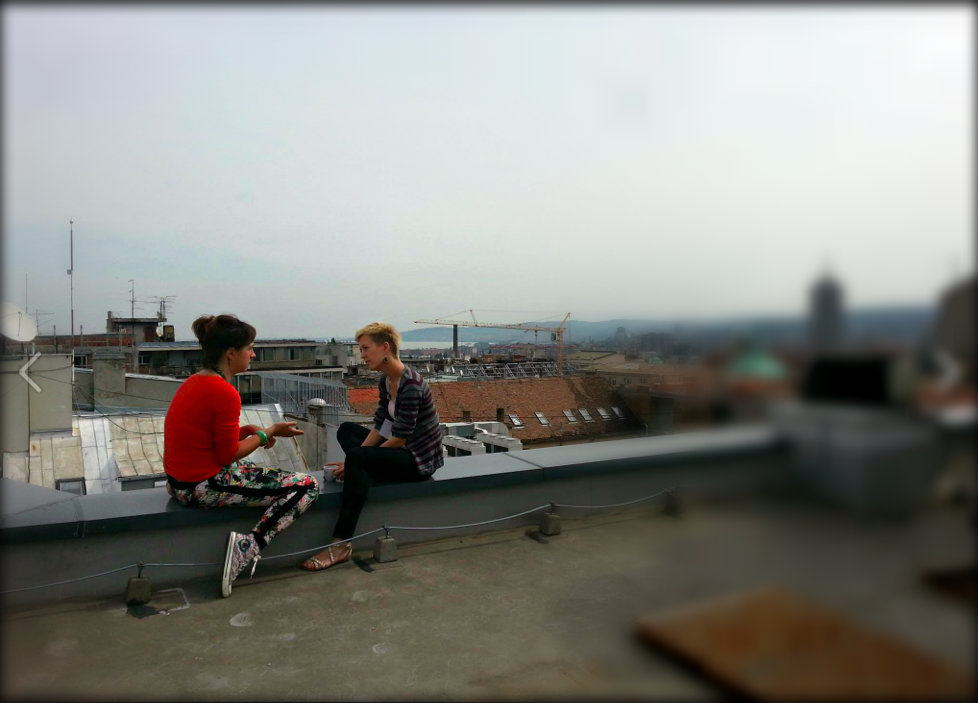 aga&i on teh roof.